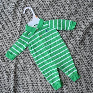 Ralph Lauren Green Striped Long Jumper 0-3M